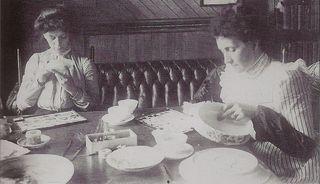 Bertha and Alta china painting c 1899